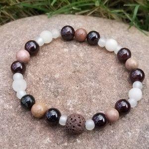 Jewelry - Garnet & Rhonodite Essential Oil Diffuser Bracelet